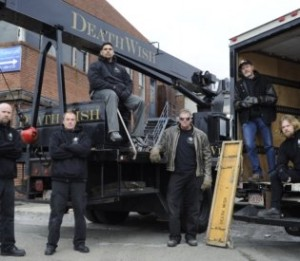 DeathWish Piano Movers crew with their crane